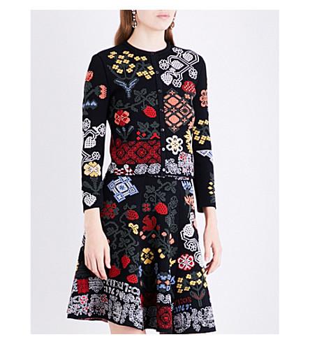 ALEXANDER MCQUEEN Floral-intarsia silk-blend cardigan (Blackmulti