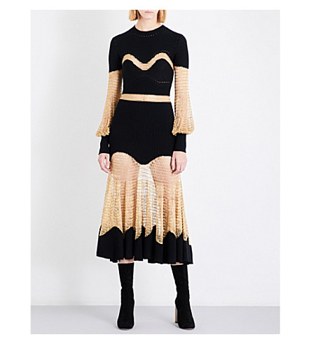ALEXANDER MCQUEEN Metallic-panel wool and cashmere-blend dress (Black/gold