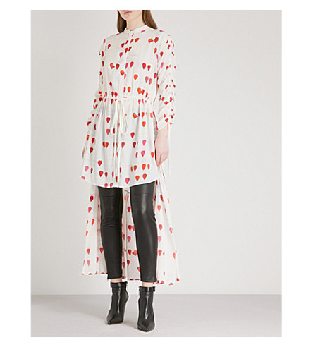 ALEXANDER MCQUEEN Petal-print flared-hem silk dress (Ivory+red