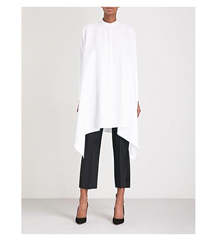 ALEXANDER MCQUEEN Waterfall-hem textured cotton shirt dress (Optic+white
