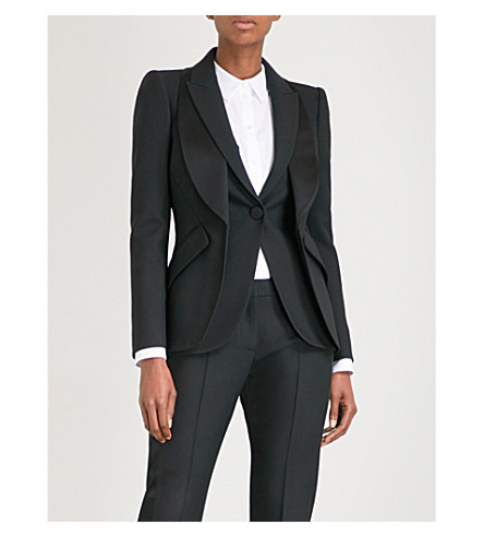 ALEXANDER MCQUEEN Layered lapel wool-blend blazer (Black
