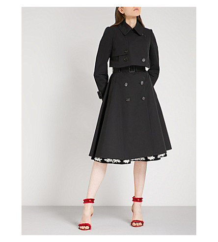 ALEXANDER MCQUEEN Flared double-breasted cotton trench coat (Black