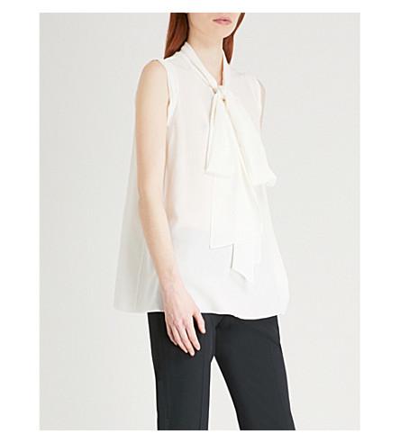 ALEXANDER MCQUEEN Neck-tie sleeveless silk-crepe top (Soft+white