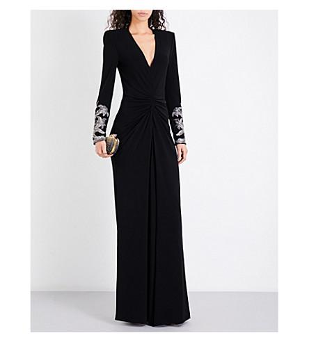 ALEXANDER MCQUEEN Embellished jersey gown (Black