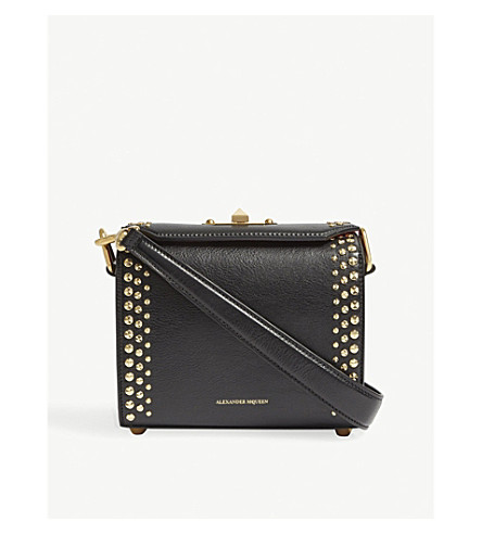 ALEXANDER MCQUEEN Studded grained leather cross-body bag (Black