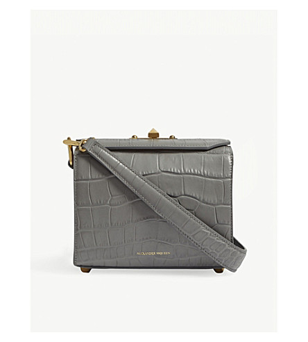 ALEXANDER MCQUEEN Crocodile-embossed leather cross-body bag (Smog