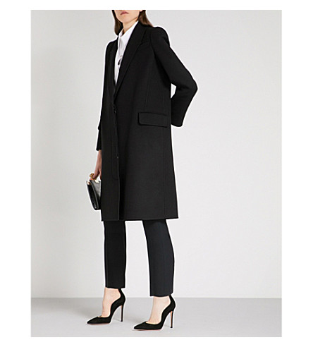ALEXANDER MCQUEEN Single-breasted wool and cashmere-blend coat (Black