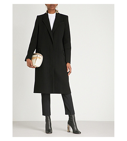 ALEXANDER MCQUEEN 单排扣羊毛和羊绒混纺大衣 (黑色