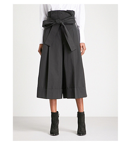 ALEXANDER MCQUEEN Paper bag-waist wide cropped high-rise cotton trousers (Black