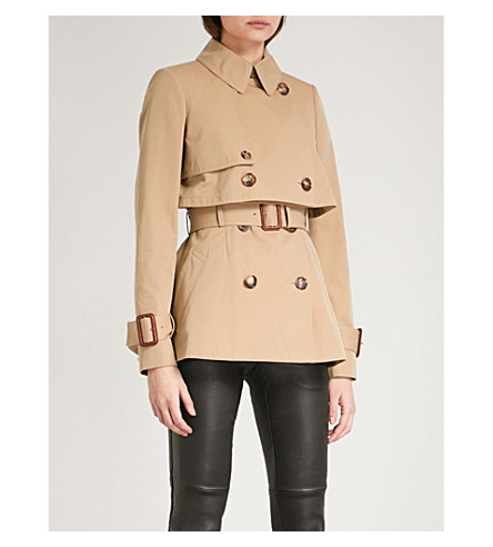 ALEXANDER MCQUEEN Double-breasted cropped cotton trench coat (Beige