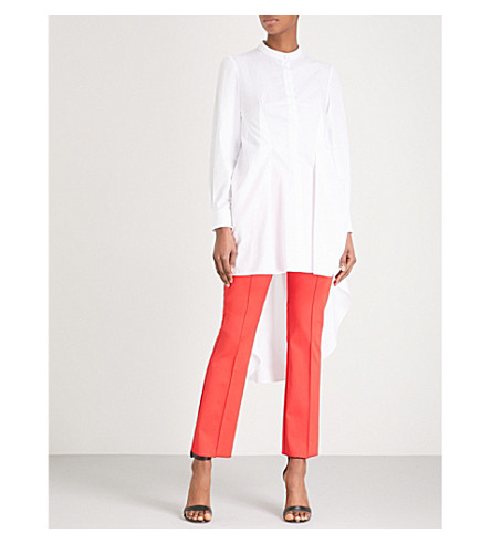 ALEXANDER MCQUEEN Dropped-hem cotton-poplin shirt (White