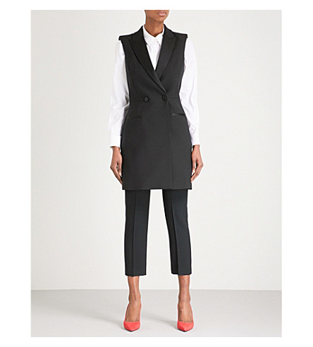 ALEXANDER MCQUEEN Sleeveless double-breasted wool-blend coat dress (Black