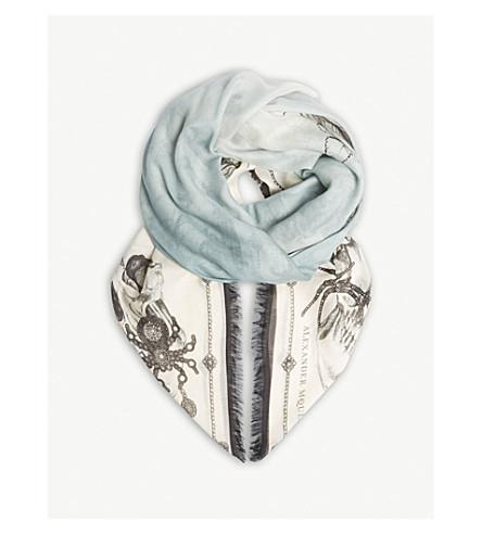 ALEXANDER MCQUEEN Bontanical skull print wool-blend scarf (Ivory/sky+blue