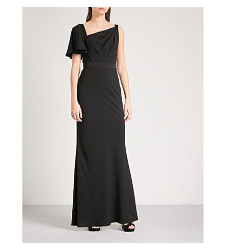 ALEXANDER MCQUEEN Asymmetric crepe gown (Black