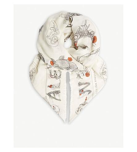 ALEXANDER MCQUEEN Skull animal print wool-blend scarf (Ivory/black