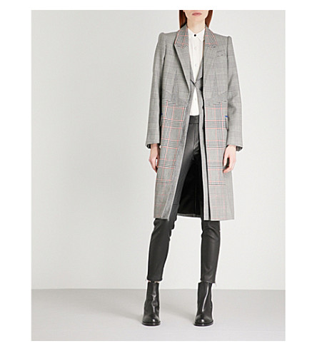 ALEXANDER MCQUEEN Checked single-breasted wool coat (Black+ivory