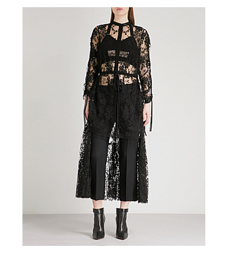 ALEXANDER MCQUEEN Floral-embroidered lace top (Black