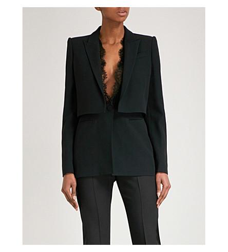 ALEXANDER MCQUEEN Layered lapel crepe blazer (Black