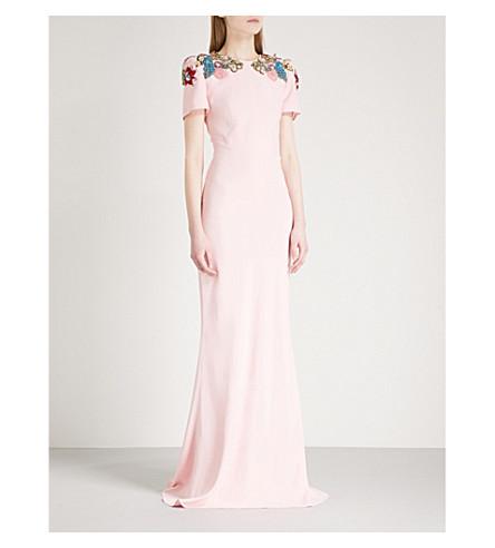 ALEXANDER MCQUEEN Floral-embellished crepe column gown (Rose