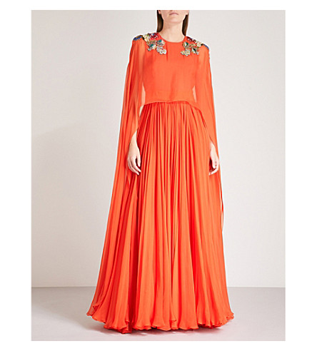 ALEXANDER MCQUEEN Floral-embellished silk-chiffon gown (Coral
