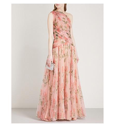 ALEXANDER MCQUEEN One shoulder pleated organza gown (Pink