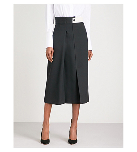 ALEXANDER MCQUEEN Flared high-rise wool-blend midi skirt (Black+ivory