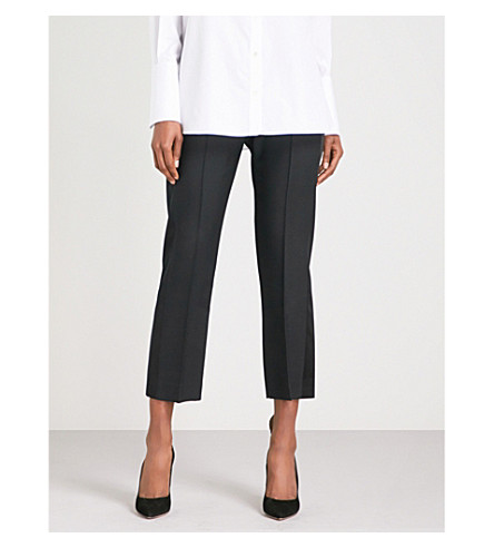 ALEXANDER MCQUEEN Straight cropped mid-rise wool-blend trousers (Black