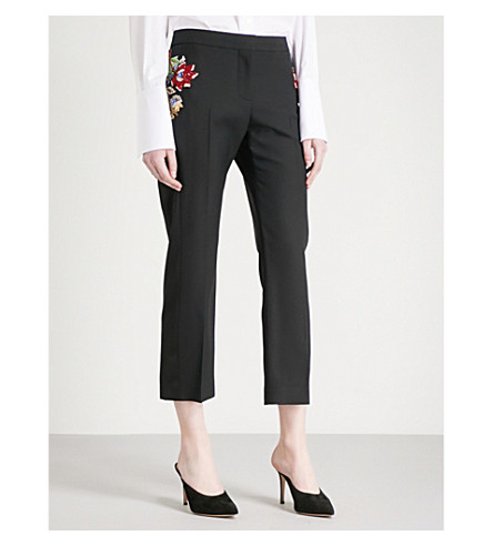 ALEXANDER MCQUEEN Floral-embellished tailored-fit high-rise wool-blend trousers (Black