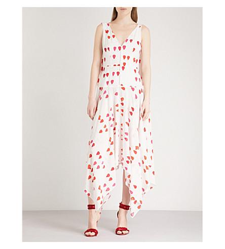 ALEXANDER MCQUEEN Petal-print sleeveless silk dress (Ivory+red
