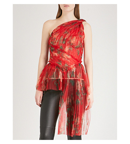 ALEXANDER MCQUEEN One-shoulder floral-print pleated organza top (Red