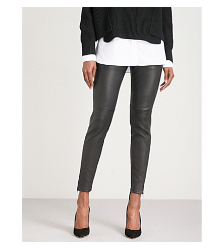 ALEXANDER MCQUEEN Skinny high-rise leather trousers (Black/black