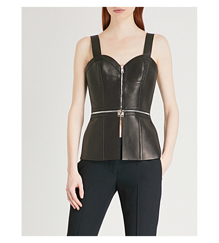 ALEXANDER MCQUEEN Zip-detail leather corset top (Black