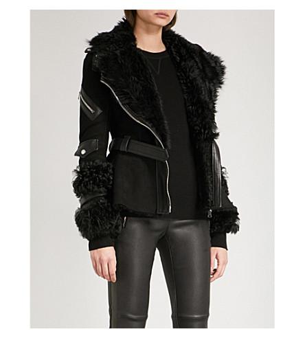 ALEXANDER MCQUEEN Biker-collar suede and shearling jacket (Black
