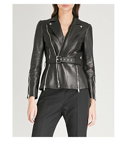 ALEXANDER MCQUEEN Belted leather biker jacket (Black
