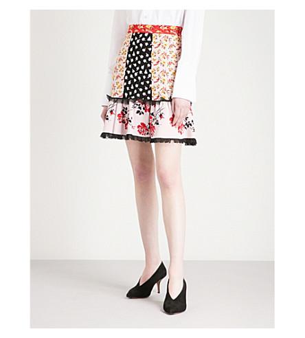 ALEXANDER MCQUEEN Patchwork-panel high-rise jacquard mini skirt (Multicolor