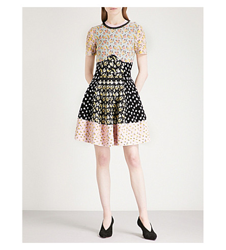 ALEXANDER MCQUEEN Patchwork-panel fit-and-flare jacquard dress (Multicolor