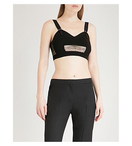 ALEXANDER MCQUEEN Sweetheart sleeveless knitted cropped top (Black