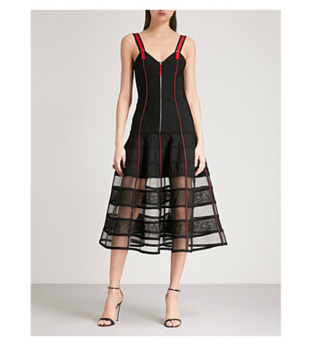ALEXANDER MCQUEEN Bustier jacquard-knit dress (Black/red
