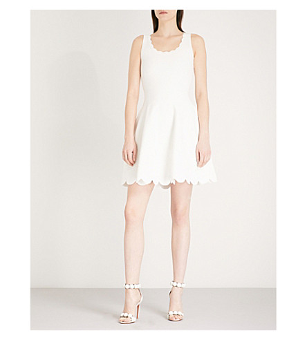 ALEXANDER MCQUEEN Scalloped floral woven dress (Ivory