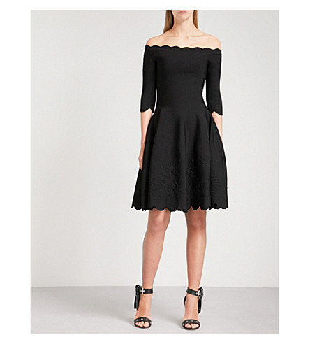 ALEXANDER MCQUEEN Off-the-shoulder jacquard-knit dress (Black