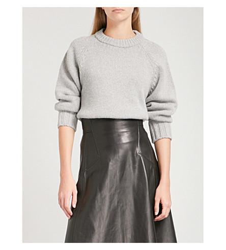 ALEXANDER MCQUEEN Round-neck cashmere and wool-blend jumper (Grey+ml