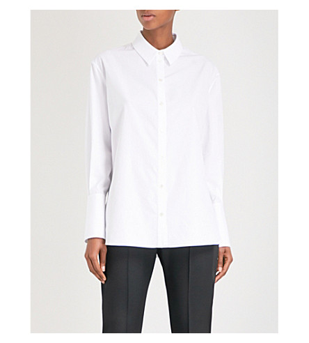 ALEXANDER MCQUEEN Contrast-detail cotton-poplin shirt (White