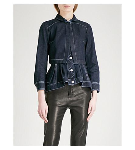 ALEXANDER MCQUEEN Cape-panel denim jacket (Dark+blue+denim