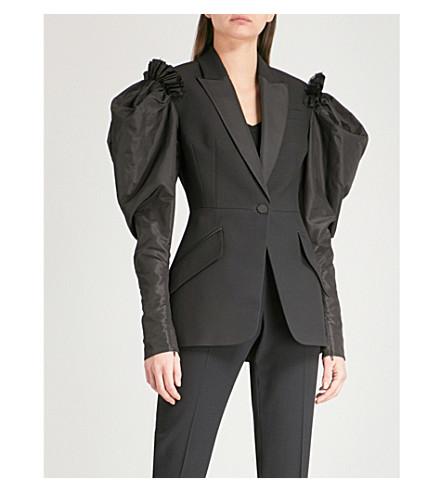 ALEXANDER MCQUEEN Puff-sleeve wool-blend jacket (Black
