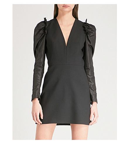 ALEXANDER MCQUEEN Draped wool-blend dress (Black