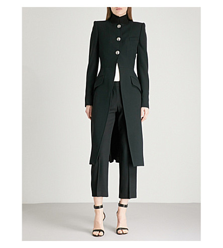 ALEXANDER MCQUEEN High-neck single-breasted crepe coat (Black