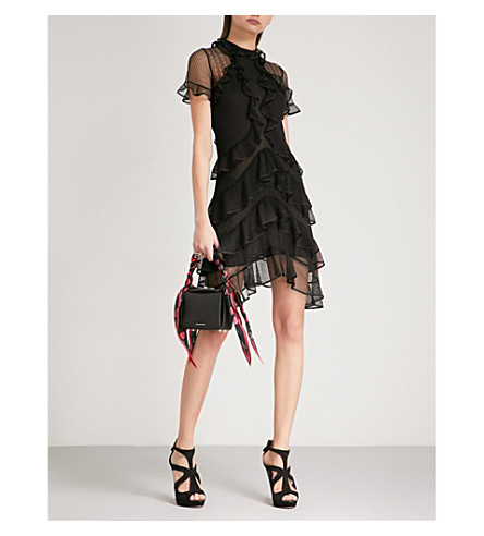 ALEXANDER MCQUEEN Frilled mesh mini dress (Black