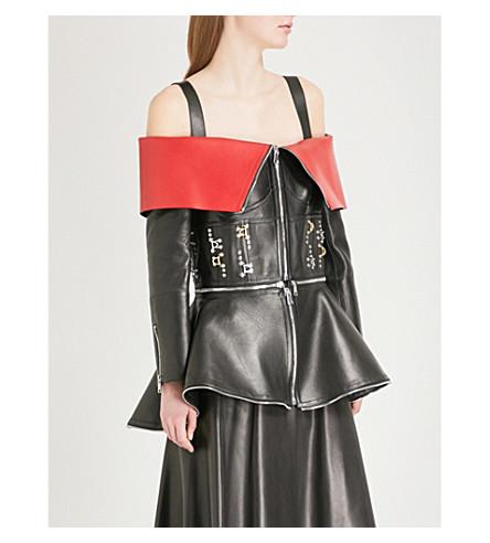 ALEXANDER MCQUEEN Embellished off-the-shoulder leather jacket (Black/lust+red
