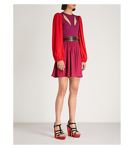 ALEXANDER MCQUEEN Balloon-sleeve knitted and crepe dress (Deep+orchid/red