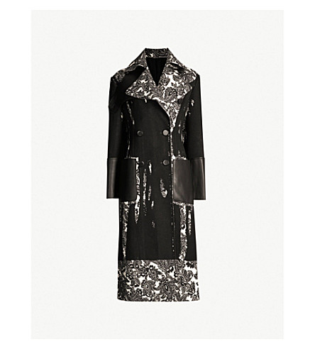 ALEXANDER MCQUEEN Paisley-panel double-breasted wool-twill coat (Ivory black